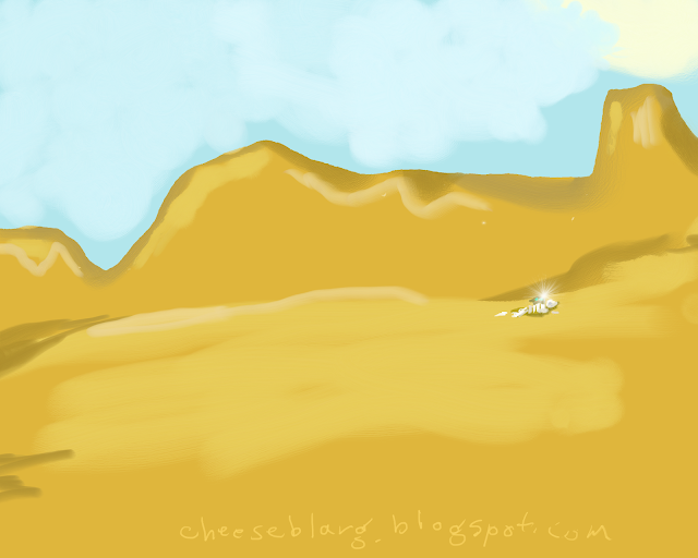 A view into the distance shows a barren desert with a skeleton and a backpack. Something within the backpack is shimmering.