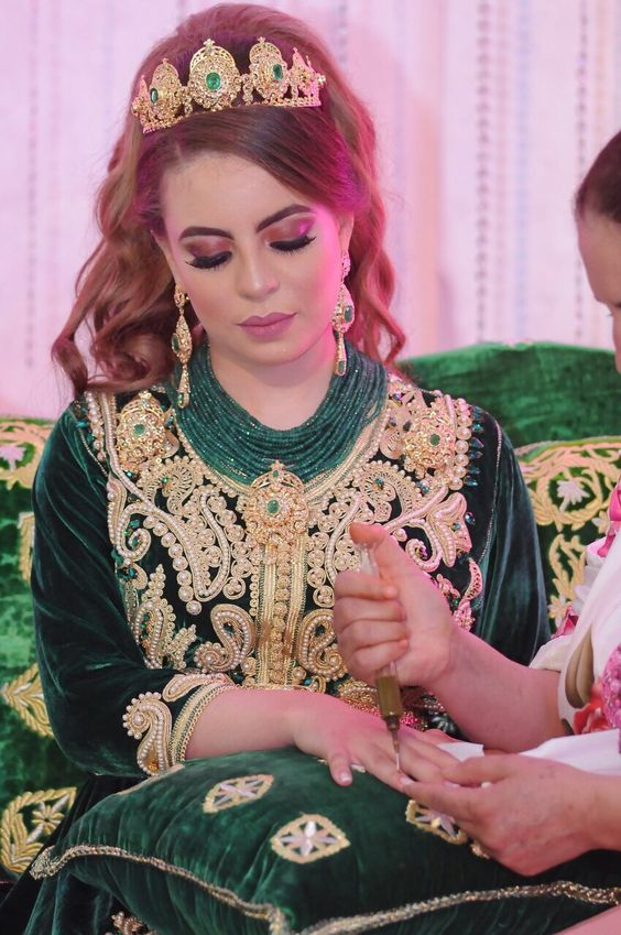 caftan velours vert pour mariage
