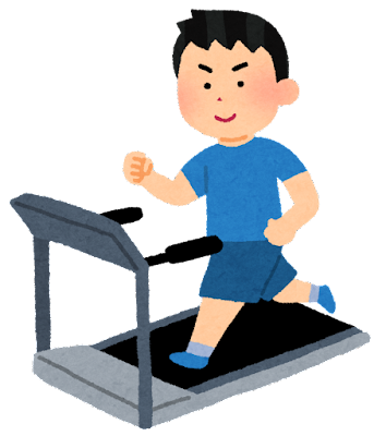 ランニングマシンで走る人のイラスト(男性)