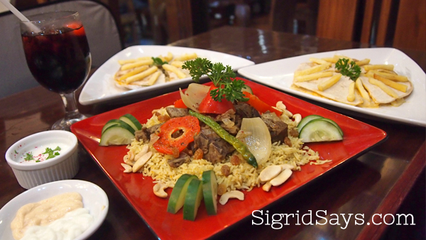 Kapsa Lamb Biryani with Chicken and Beef Arayes at Kabbara Cafe