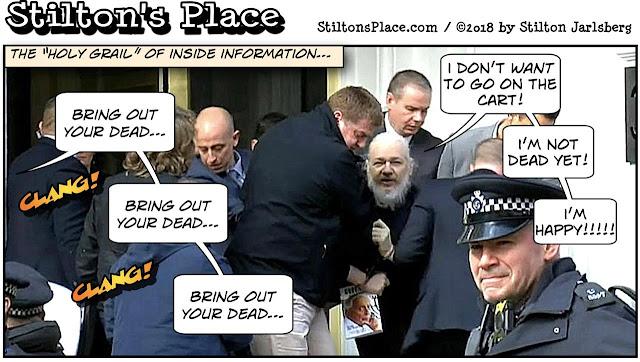 stilton's place, stilton, political, humor, conservative, cartoons, jokes, hope n' change, assange, arrest, barr, investigation, coup, hillary, seth rich, murder, russian collusion