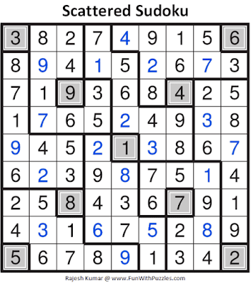 Answer of Scattered Sudoku Puzzle (Fun With Sudoku #357)
