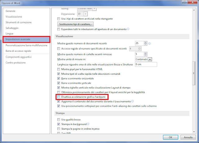 Office, Disattiva accelerazione grafica hardware
