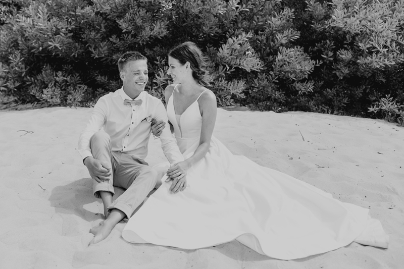 bw shot of bridal noosa couple