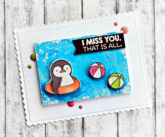 Birdie Brown Penguins in Paradise stamp set and  Die-namics - Raluca Vezeteu #mftstamps