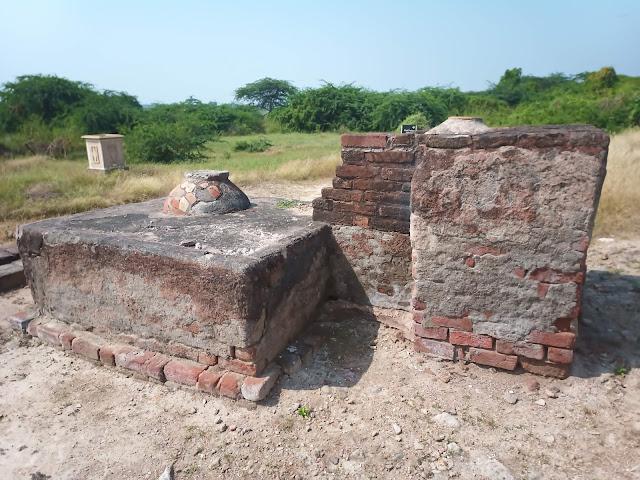 Storage jar embedded in mudbrick house structure at Lothal citadel