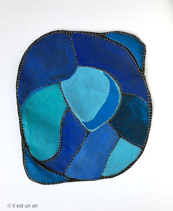 tableau textile bleu
