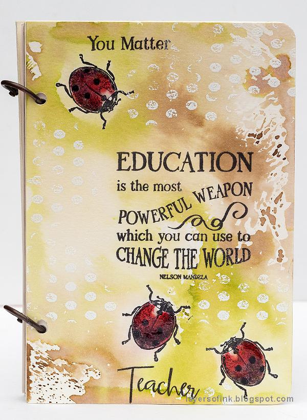 Layers of ink - DIY Ladybug Notebook Tutorial by Anna-Karin Evaldsson with Tim Holtz Entomology stamps