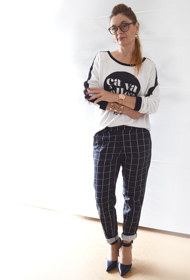 Schwarz Weiß Sweater mit Gitternetz Hose