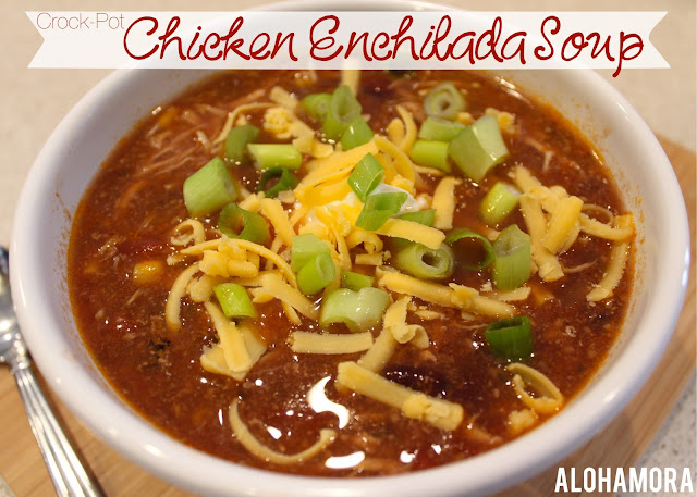 Chicken Enchilada Soup easily made in a crock-pot/slow-cooker.  This healthy and delicious sopu is the perfect meal for a busy weeknight meal.  Alohamora Open a Book Healthy, diet friendly, chicken, easy, freezer meal, dinner, recipe