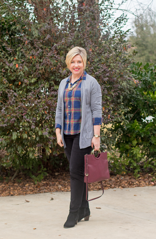Plaid and pearls and Five for Friday