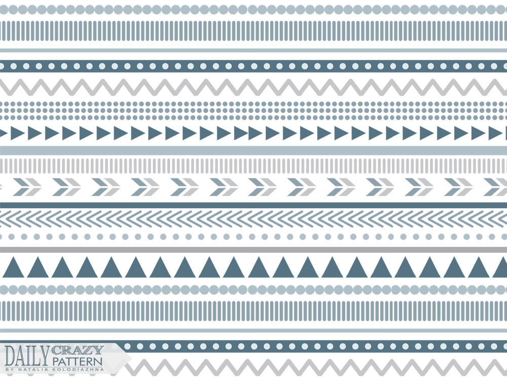"Aztec print art with blue tints for ""Daily Crazy Pattern"" project"