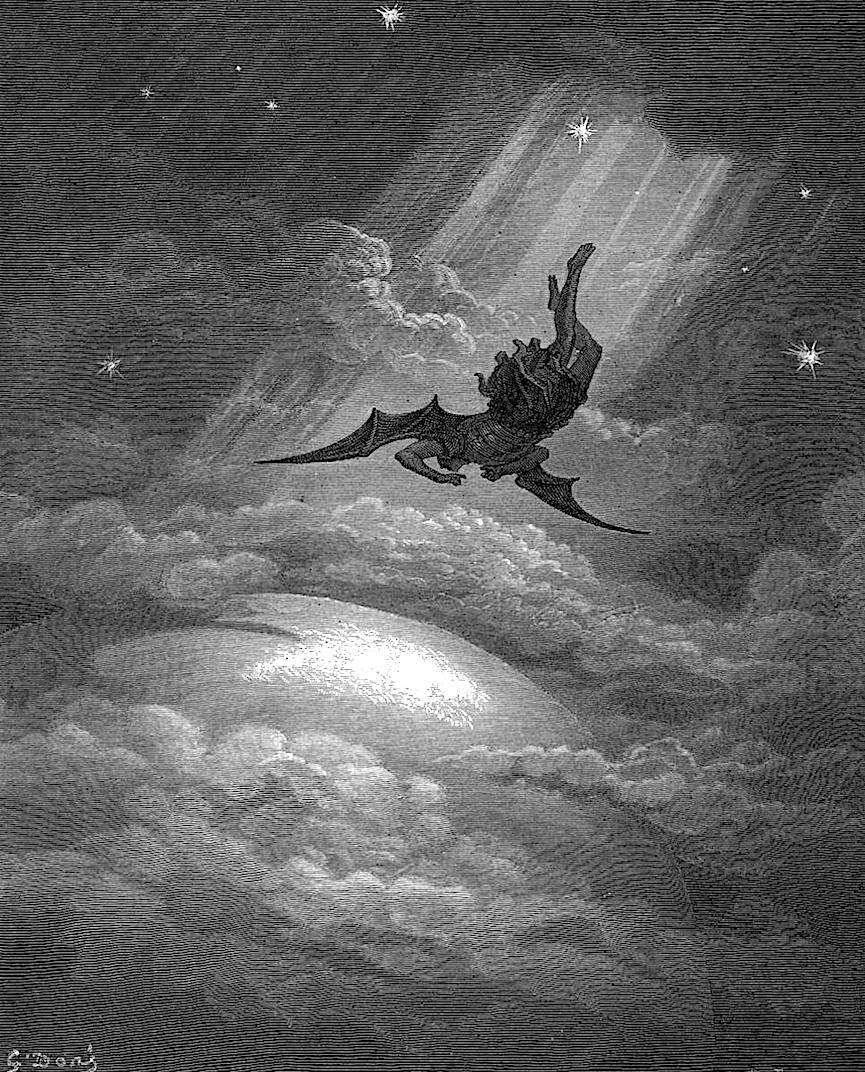 a Gustave Dore illustration, dark angel falling to Earth