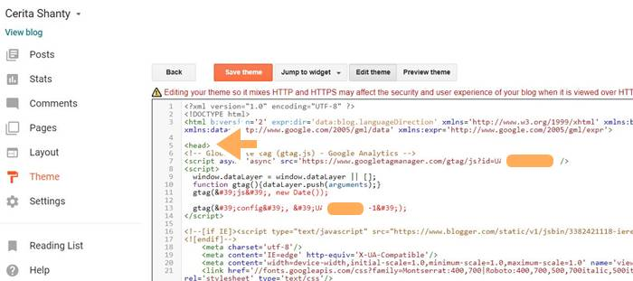 kode google analytic di html blog