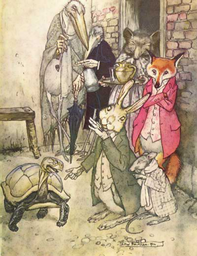 Aesops Fables, The Tortoise and the Hare,. Arthur Rackham.