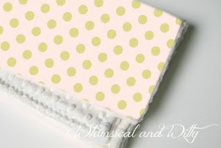 Blush and Gold Polka Dot Baby Blanket - Very Light Pink and Metallic Gold Polka Dot - Toddler Blanket - Minky Backed nursery girl white Michael Miller Glitz floor