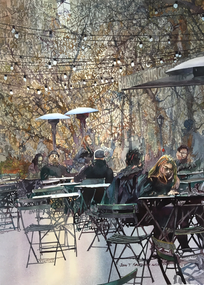09-Madison-Square-Lights-John-Salminen-Watercolor-Paintings-Taking-Glimpses-into-our-Life-www-designstack-co