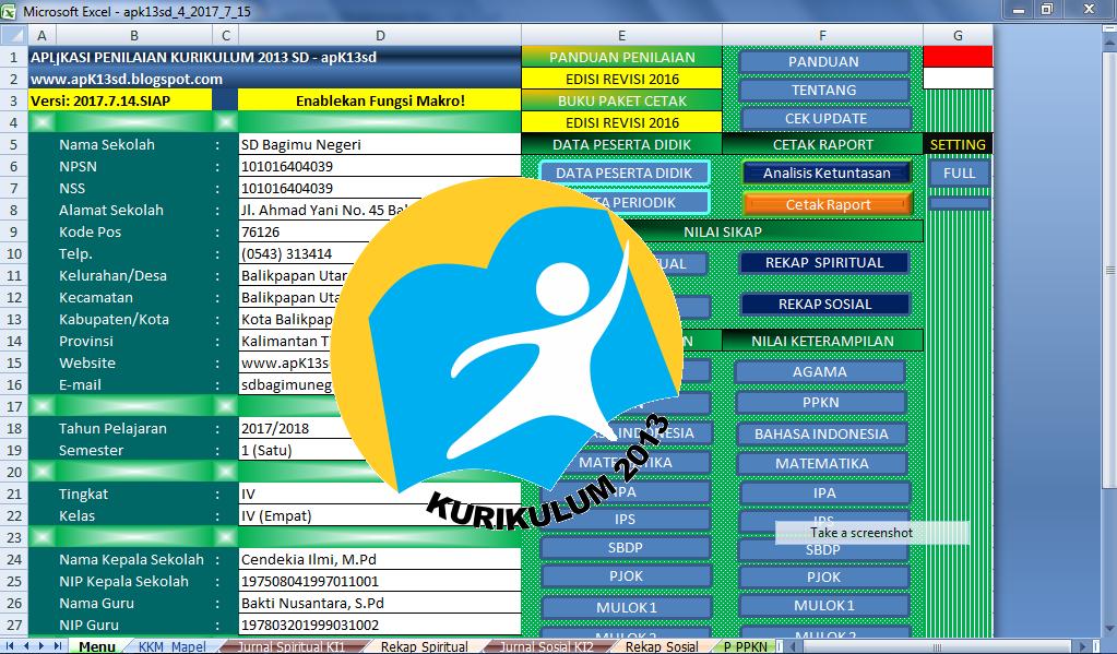 Aplikasi Raport K13 Sd Tahun 2017 Deuniv