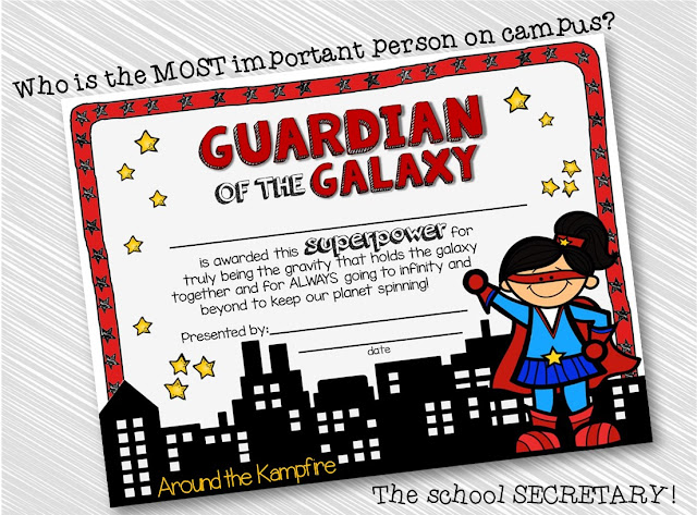 Superhero school secretary award
