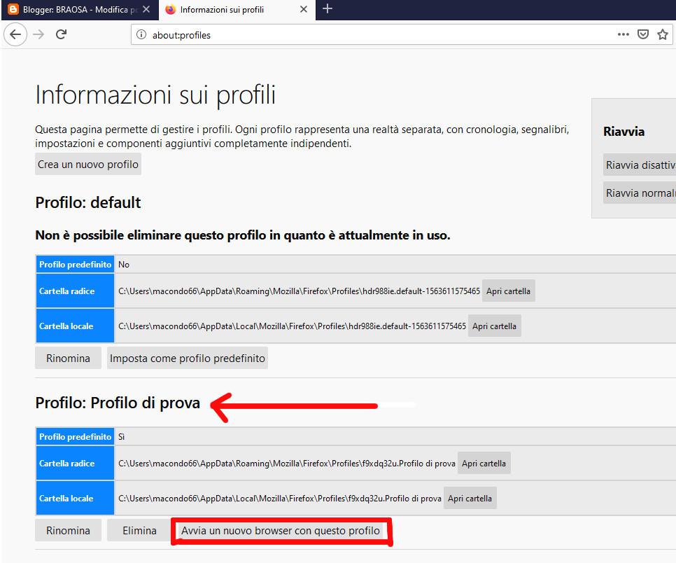 Termine procedura creazione profilo Mozilla Firefox