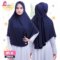 hijab instan syari jumbo bpl xl plain laura dongker navy