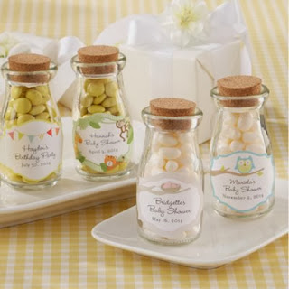 Personalized Baby Shower Party Candy Jar Favor vintage milk