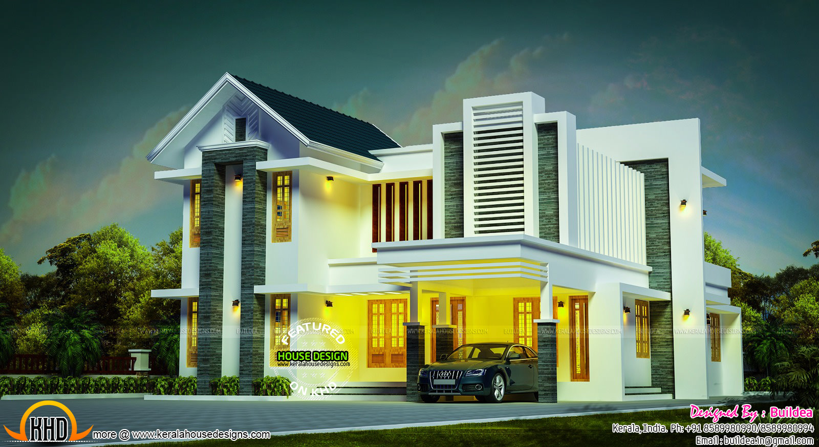 Grand looking 2328 sq ft modern home kerala home design for Grand designs modern house
