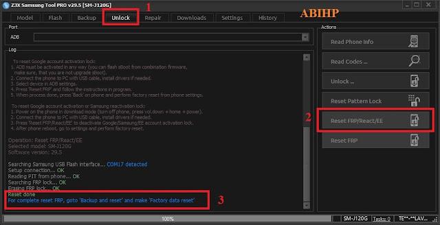 Pilih tab unlock dan klik reset frp lalu colokkan kabel usb samsung j1 4g.