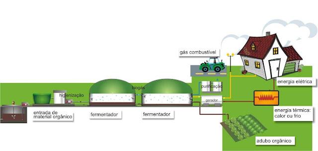 Esquema de funcionamiento de un biodigestor a gran escala
