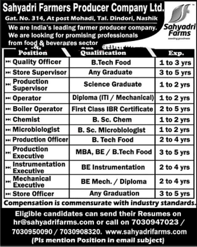 Sahyadri Farmers Urgent Openings for Chemist / Operators / Supervisors / Production / Store / Instrumentation