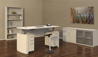 electric sit to stand desk - mayline medina collection