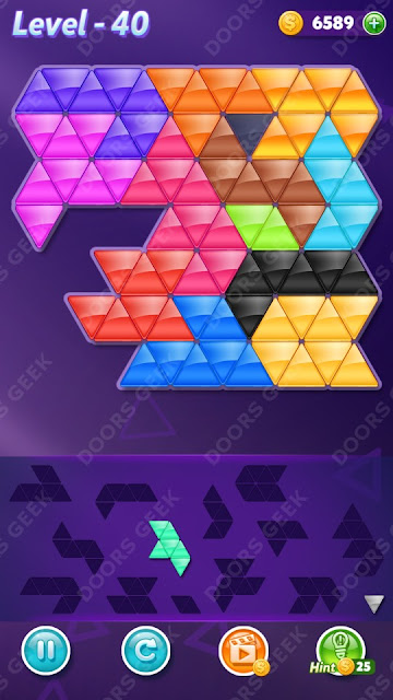 Block! Triangle Puzzle Champion Level 40 Solution, Cheats, Walkthrough for Android, iPhone, iPad and iPod