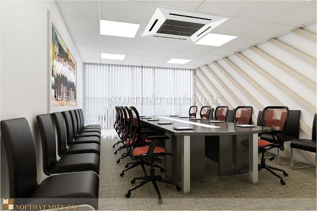 Trong mẫu thiết kế nội thất phòng họp này bạn hoàn toàn có thể cảm nhận được sự khỏe khoắn từ đường nét chất liệu nội thất mang lại dấu ấn nổi bật