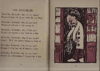 A page from a book with a poem about a sad bookseller, and the facing page has a drawing of a bookseller.