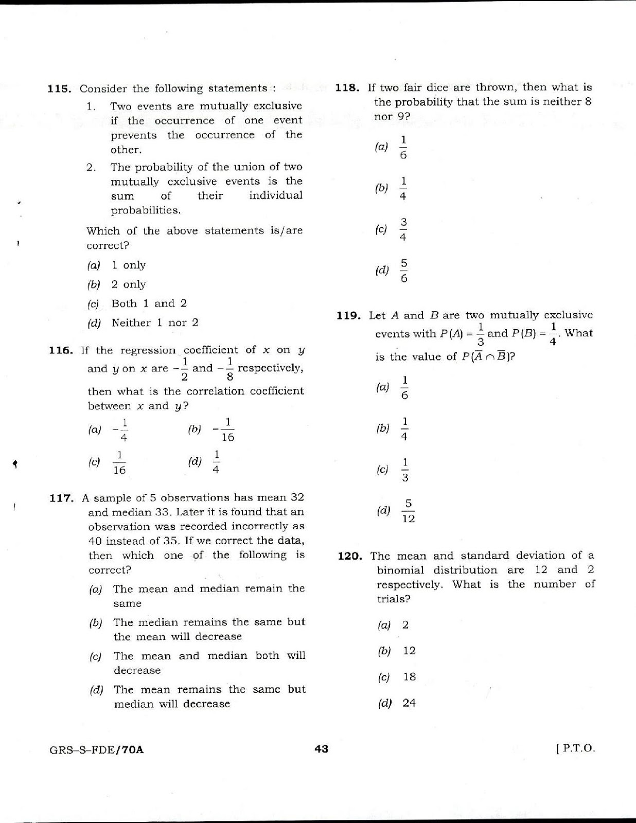 NDA 1 2017 Mathematics question paper