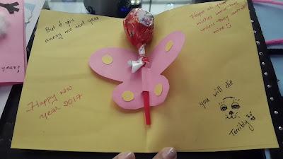 Inside of the card - butterfly lollipop