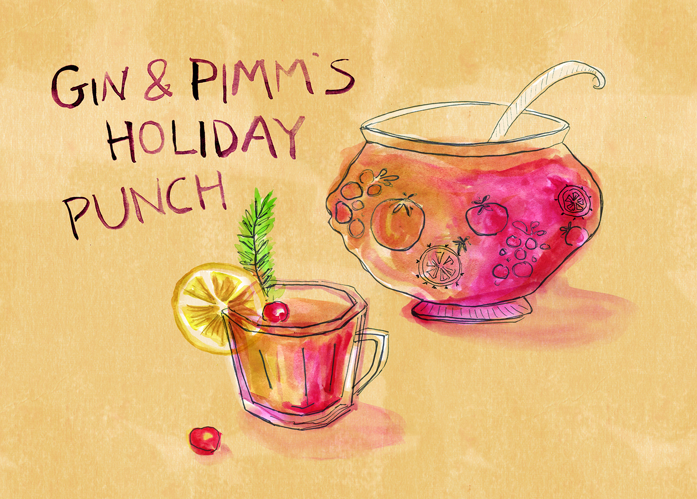 Gin and Pimm's Holiday Punch, Holiday Cocktails, Christmas, Hanukkah, Minty's Table, Lauren Monaco Illustration