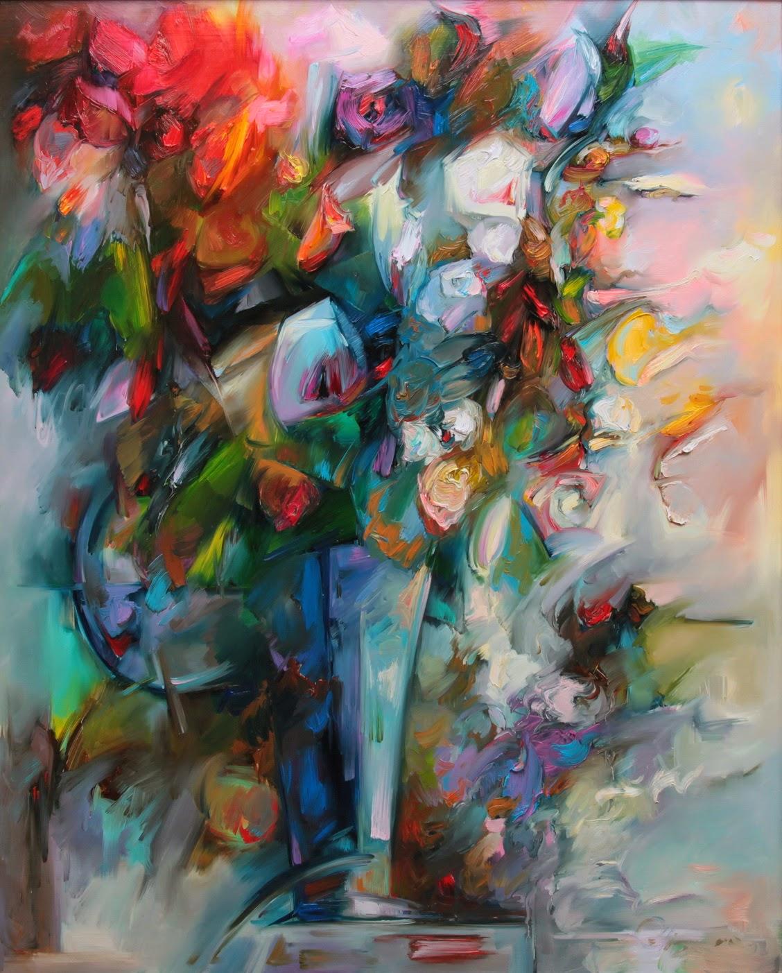 Obraz Kwiaty w szklanym wazonie