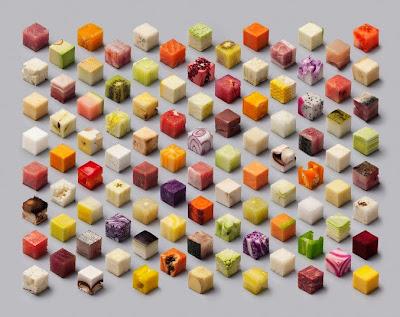 Fotografias de comida cortada en cuadritos