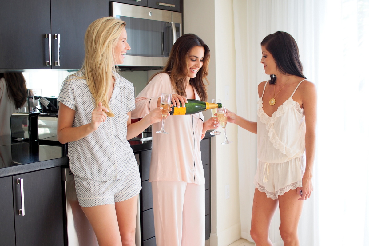 slumber party with pajamas and champagne