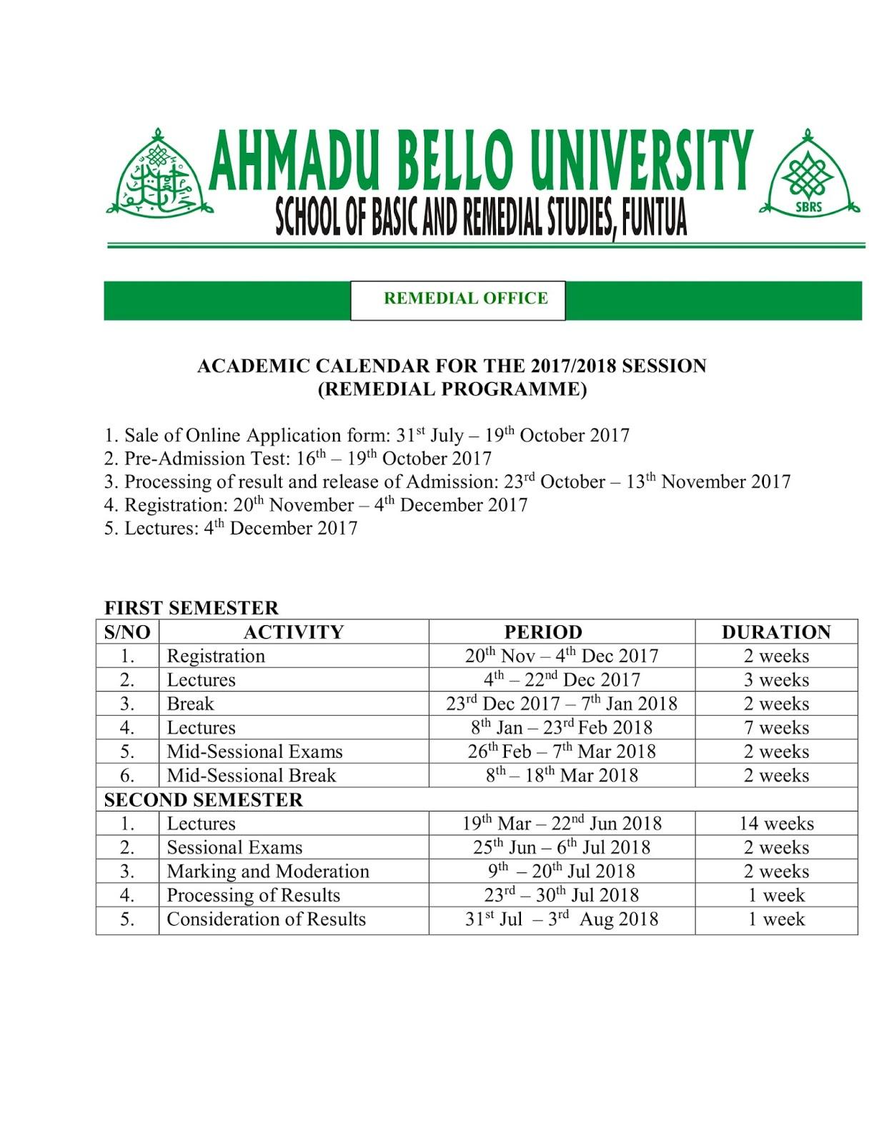 SBRS Funtua 2017/2018 Academic Calendar Schedule Out