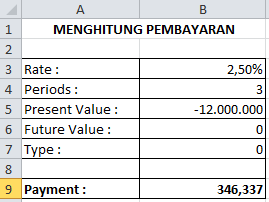 Fungsi PMT (Payment) Pada Microsoft Excel, cara menggunakan rumus pv pada microsoft excel, pengertian rumus pv pada microsoft excel, panduan membuat rumus pv pada microsoft excel, belajar komputer, belajar microsoft excel,