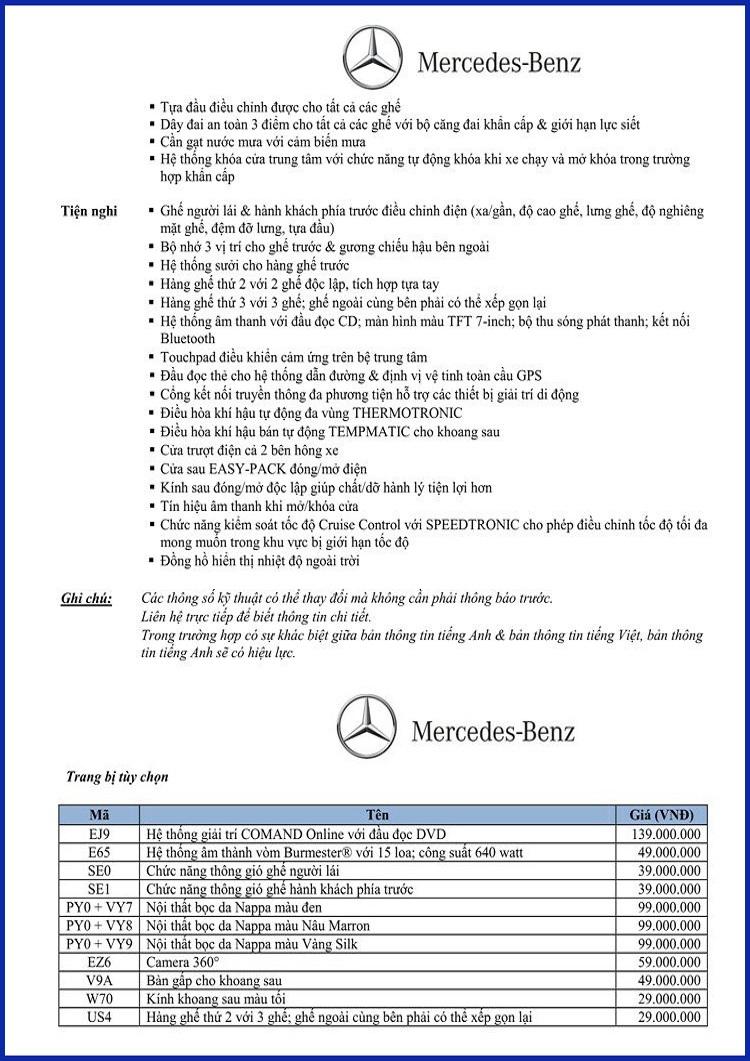 Bảng thông số kỹ thuật Mercedes V220 d Avantgarde 2019 tại Mercedes Trường Chinh