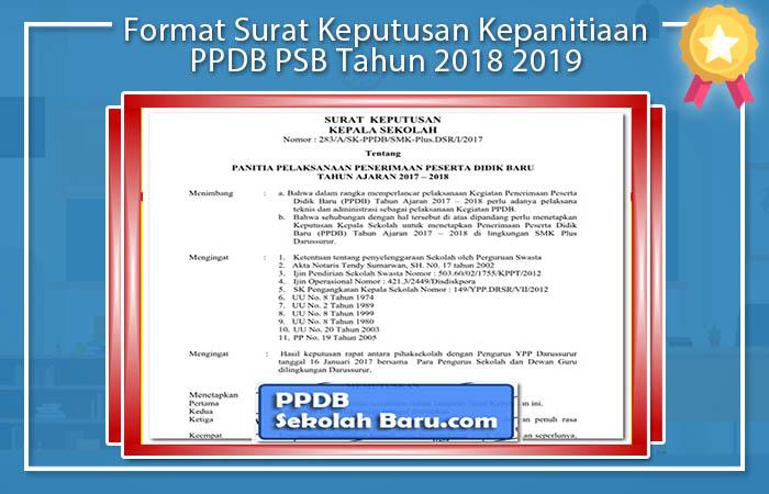 Format Surat Keputusan Kepanitiaan PPDB PSB Tahun 2018 2019