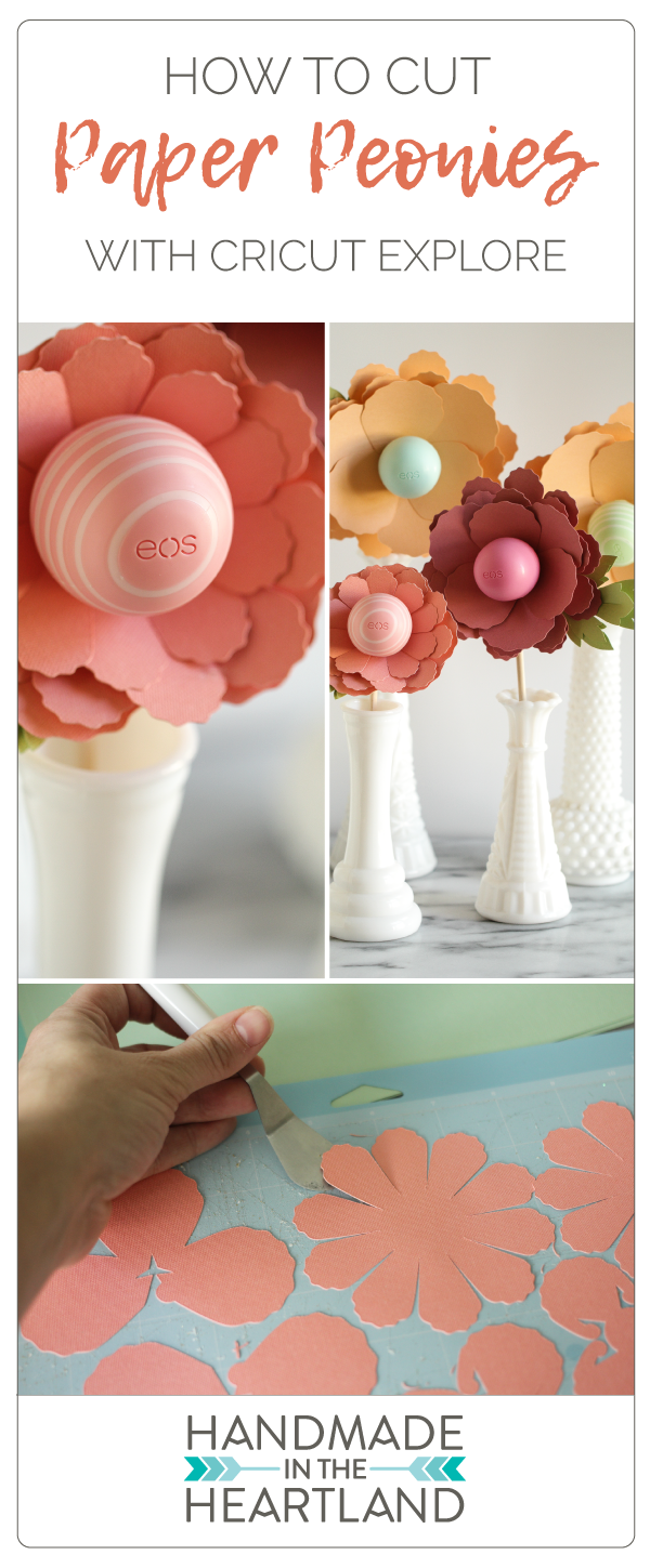 Easy step by step instructions and VIDEO on how to create and cut a paper peony with Cricut Explore. Make the perfect Mother's Day gift!