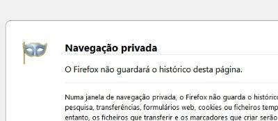 navegação privada anónima firefox