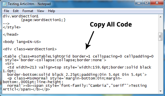 How to easily create tables in blogger using microsoft - Html code for creating table ...