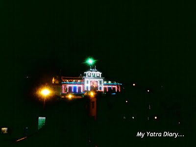 The Badrinath Temple at night in Uttarakhand