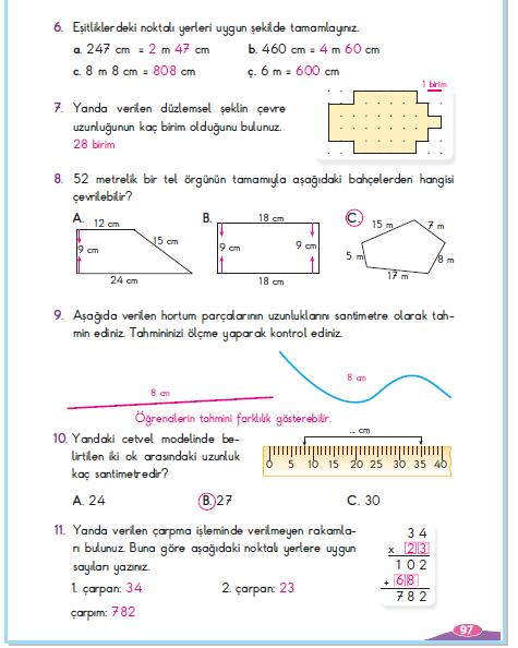 3. Sınıf Berkay Yayınları Matematik Çalışma Kitabı 97. Sayfa Cevapları 4. Ünite Değerlendirme