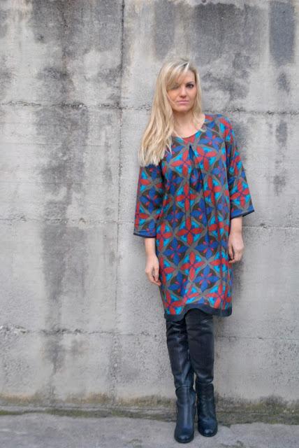 abito stampato felicia magno come abbinare un abito stampato abbinamenti abito stampato mariafelicia magno fashion blogger outfit invernali outfit gennaio 2017